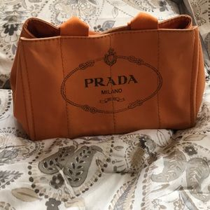 Authentic orange and black Prada Canapa tote
